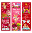 valentine day love hearts flowers and angels vector image vector image