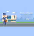welcome to the post web banner with postman vector image vector image