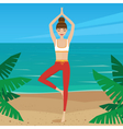 Woman standing on the coast in the morning vector image vector image