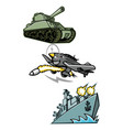 world war 2 military vehicles mascot vector image vector image