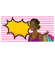 wow face summer black afro girl pop art vector image vector image