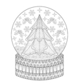 Zentangle Snow globe with Christmas fir tree vector image vector image