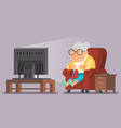old lady watching tv sit armchair cartoon vector image
