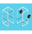 Isometric gym power rack and barbell vector image