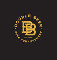 logo bb pub two beer pub emblem vector image