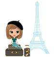 pretty girl in the paris vector image