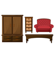 A closet drawer table and couch vector image vector image