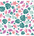 abstract color leaves seamless pattern white vector image vector image