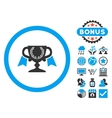 Award Cup Flat Icon with Bonus vector image vector image