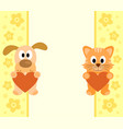 background with funny cartoon dog and cat vector image vector image