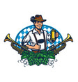 bavarian man badge for oktoberfest vector image vector image