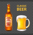 beer in bottle and mug isolated realistic vector image