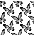 Black and white seamless pattern of butterflies vector image