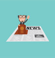 businessman speaking on podium in financial news vector image vector image