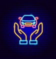 car hands neon sign vector image