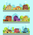 city street with buildings suburban road and vector image vector image