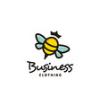 colorful cute bee queen with crown logo design vector image