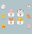 cute little beggar animals help cat dog pig cow vector image vector image
