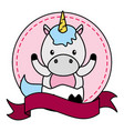 cute little unicorn in frame with ribbon vector image vector image