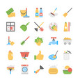 flat icon set of cleaning equipment vector image