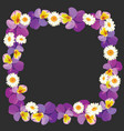 floral empty frame on black background vector image