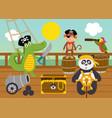 funny animal pirates on deck ship vector image