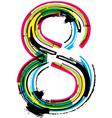 Grunge colorful font Number 8 vector image