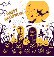 halloween party invitation with scary pumpkins and vector image