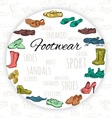 Hand drawing various types of different footwear vector image vector image