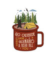 hand drawn adventure logo with mug camp tent vector image vector image