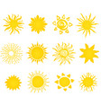 hand drawn set of different suns icons vector image vector image