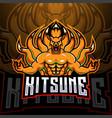 kitsune esport mascot logo design vector image vector image