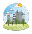 landscape city buildings park trees sunny day vector image vector image