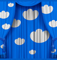light blue curtain with white decorative clouds vector image vector image