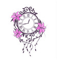 lily flowers and clock vector image vector image