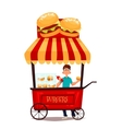 mobile retro shop with burgers vector image