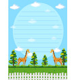 paper template with giraffes in background vector image vector image