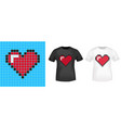 pixel heart t-shirt print stamp for tee t shirts vector image vector image