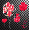 red balloons heart balloons transparent banner vector image
