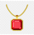 red ruby jewelry icon realistic style vector image vector image