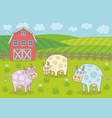 rural landscape with cows and farm vector image vector image