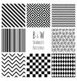 Seamless Black and White geometric background set