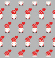 seamless pattern with cute valentine gnome vector image vector image