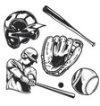 set baseball equipment vector image