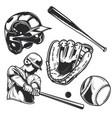 set baseball equipment vector image vector image