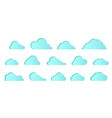 set blue icon cloud elements clouds flat vector image vector image