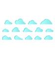 set blue icon cloud elements clouds flat vector image