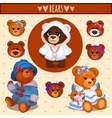 Set of brown Teddy bears father mother and baby vector image vector image