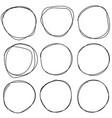 set sketches circle lines ring vector image