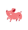 single pig character on white background vector image vector image